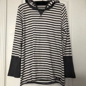Andrew Marc Charcoal/White Striped Waffle Hoodie